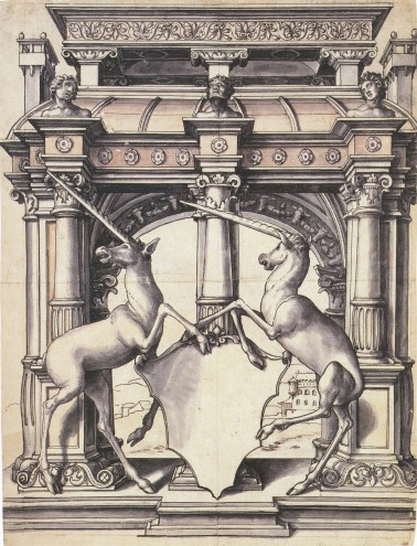 Design_for_a_Stained_Glass_Window_with_Two_Unicorns,_by_Hans_Holbein_the_Younger